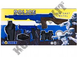 R220 Die-Cast Metal 8 Shot Toy Cap Gun Play Set Police Blue